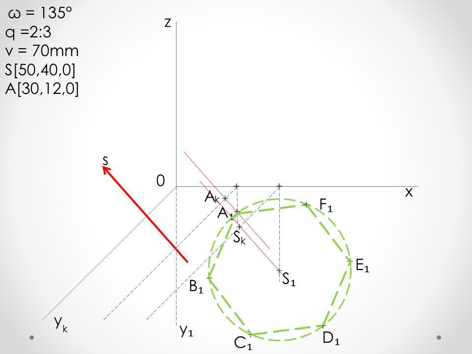 q =2:3 z v = 70mm S[50,40,0] A[30,12,0] s x A F₁ A₁ S E₁ S₁ B₁ y y₁ D₁